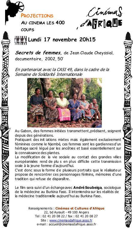 cinemas d'afrique angers 17 novembre 2008 secrets de femme
