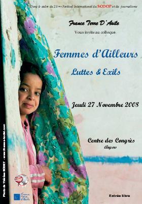 france terre d'asile affiche colloque femmes d'ailleurs Luttes et exils Angers Novembre 2008 Photo thérese bodet