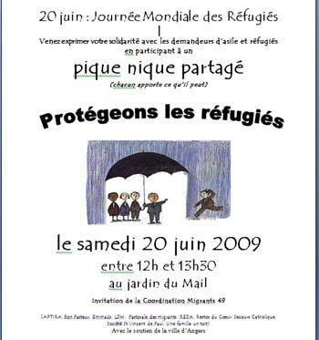affiche pour la journée des réfugiés 2009 à  Angers